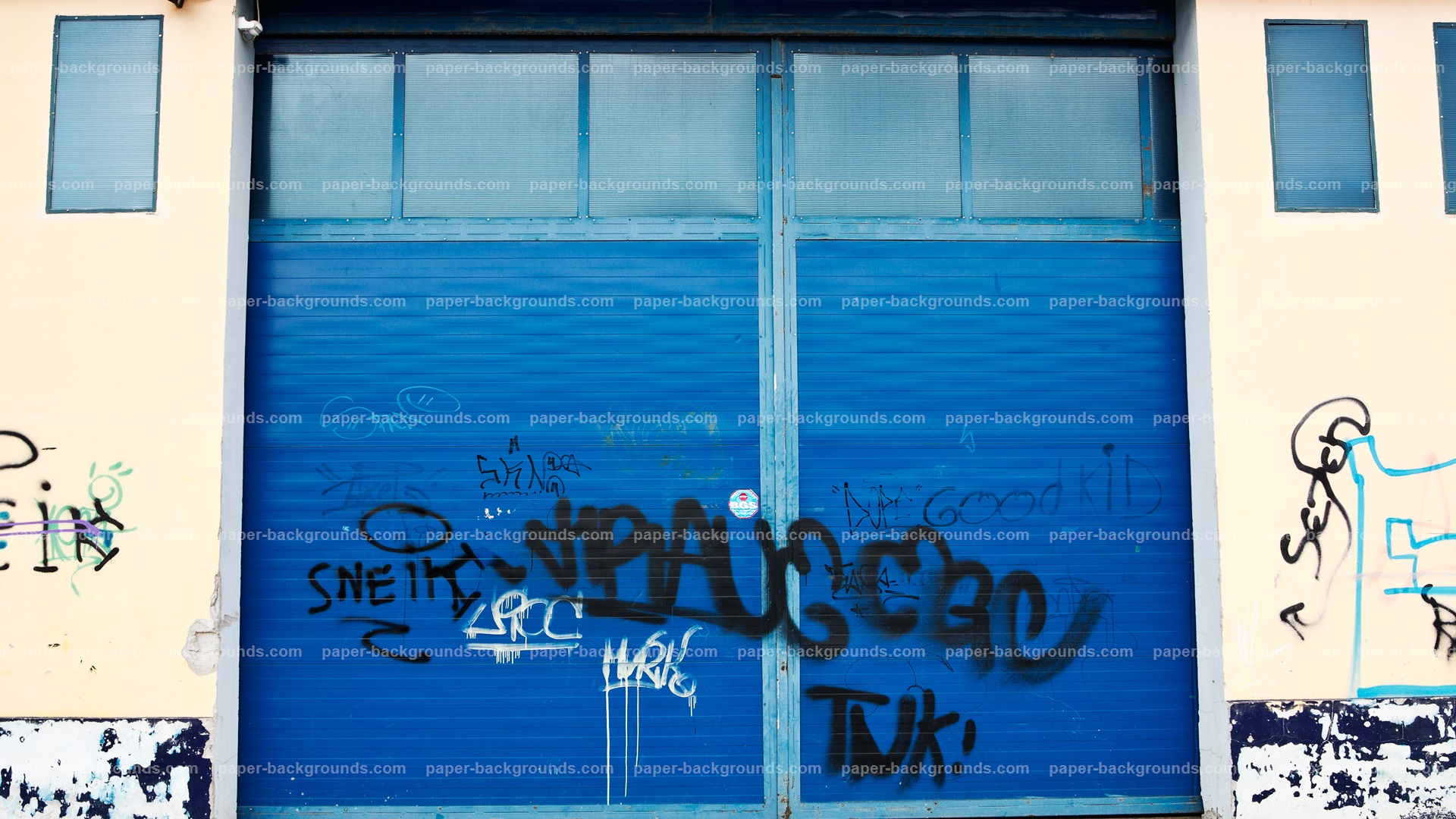 Blue Garage Graffiti Gates