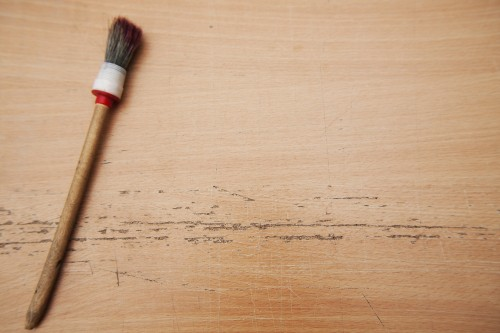 Paint-Brush on Table Mockup Background