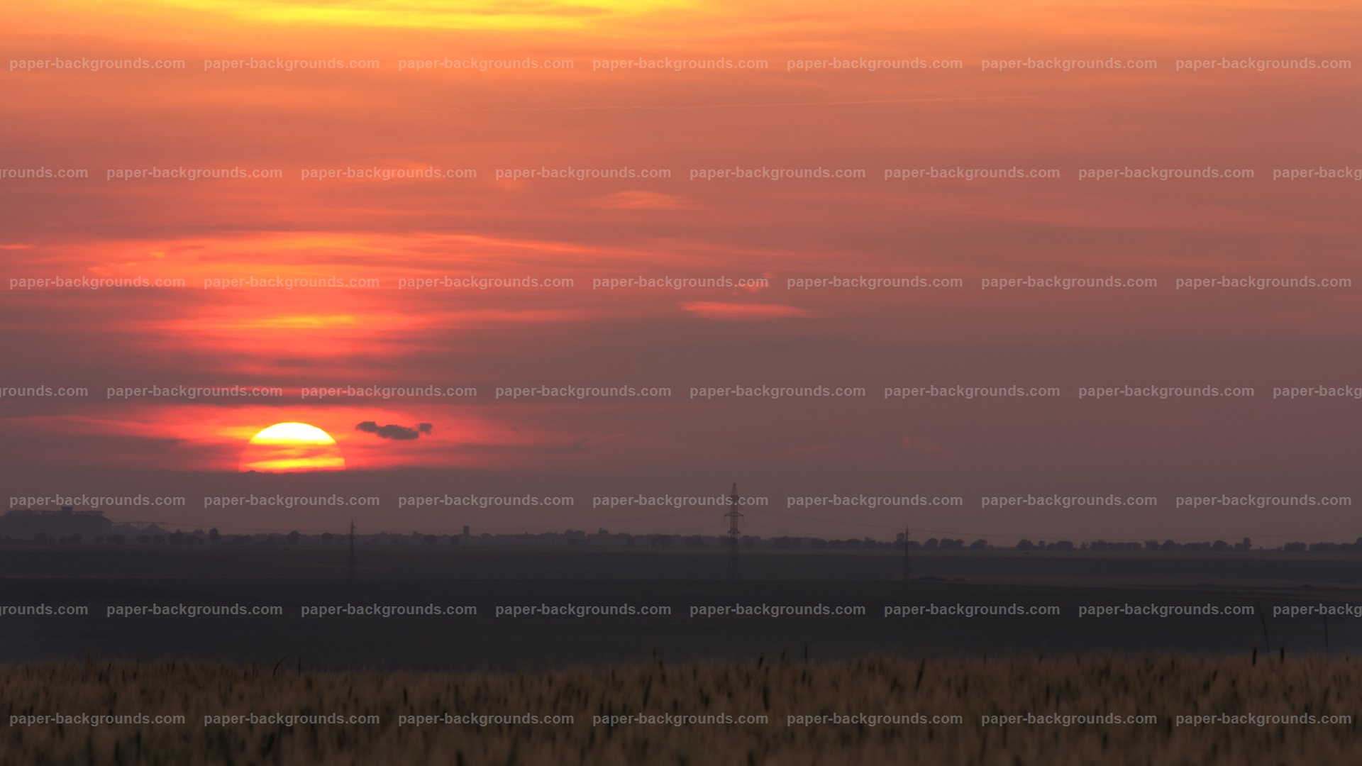 Red Sunset Sky Background HD