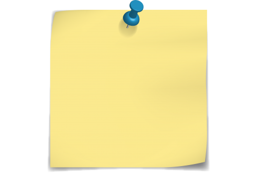 Yellow Post-It Note with Blue Push-Pin
