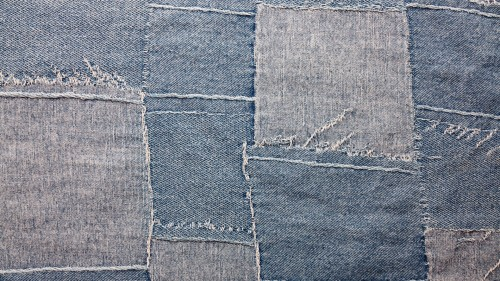 Blue Vintage Patched Jeans Texture HD