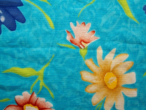 Floral Vintage Blue Fabric Background High Resolution