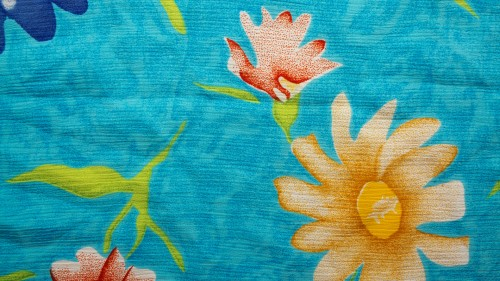 Floral Vintage Blue Fabric Background HD