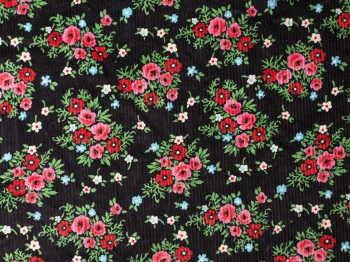 Red Flowers on Black Fabric