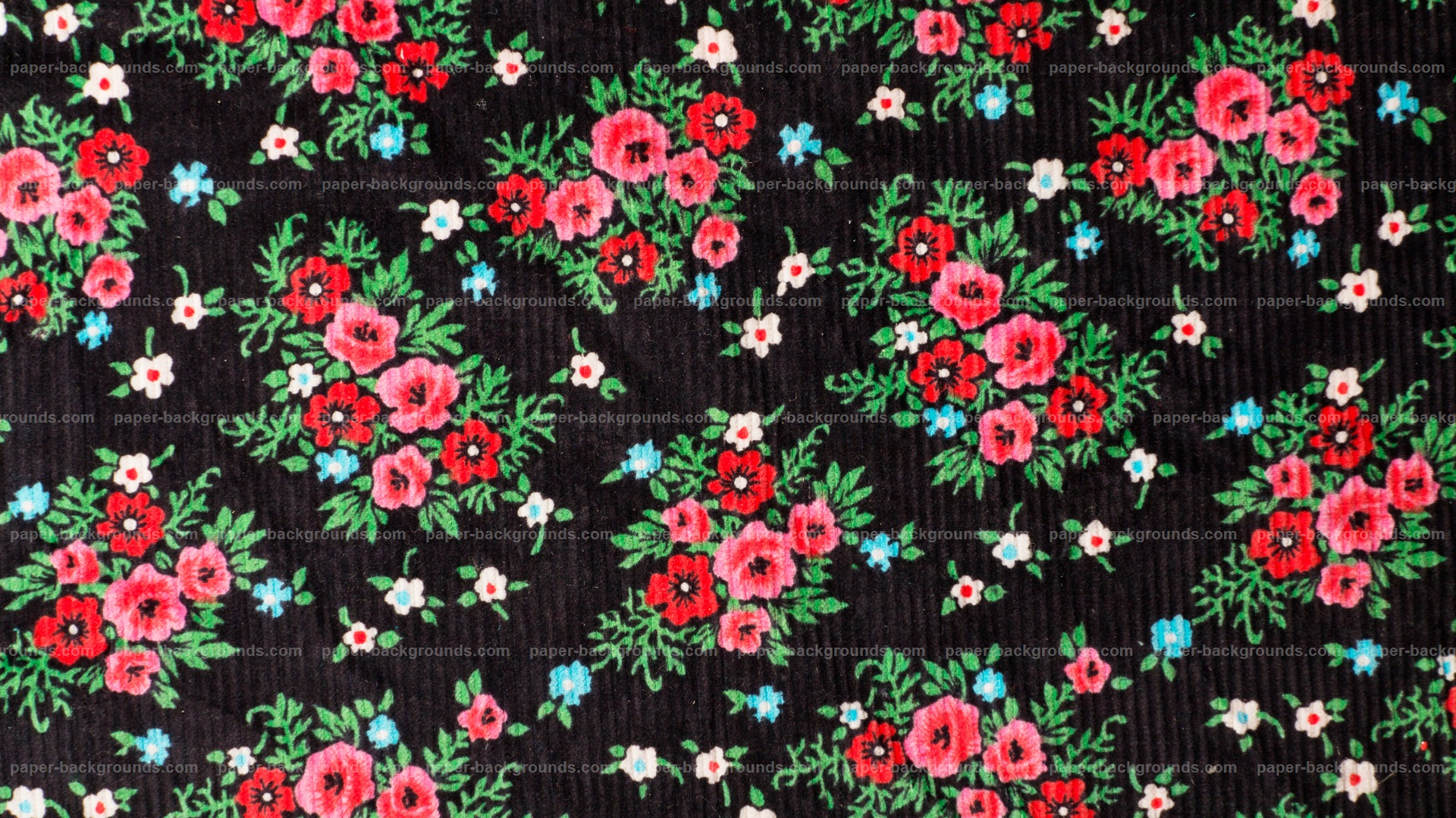 Red Flowers on Black Fabric HD