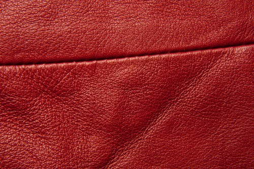 Red Leather Texture With Stitch High Resolution