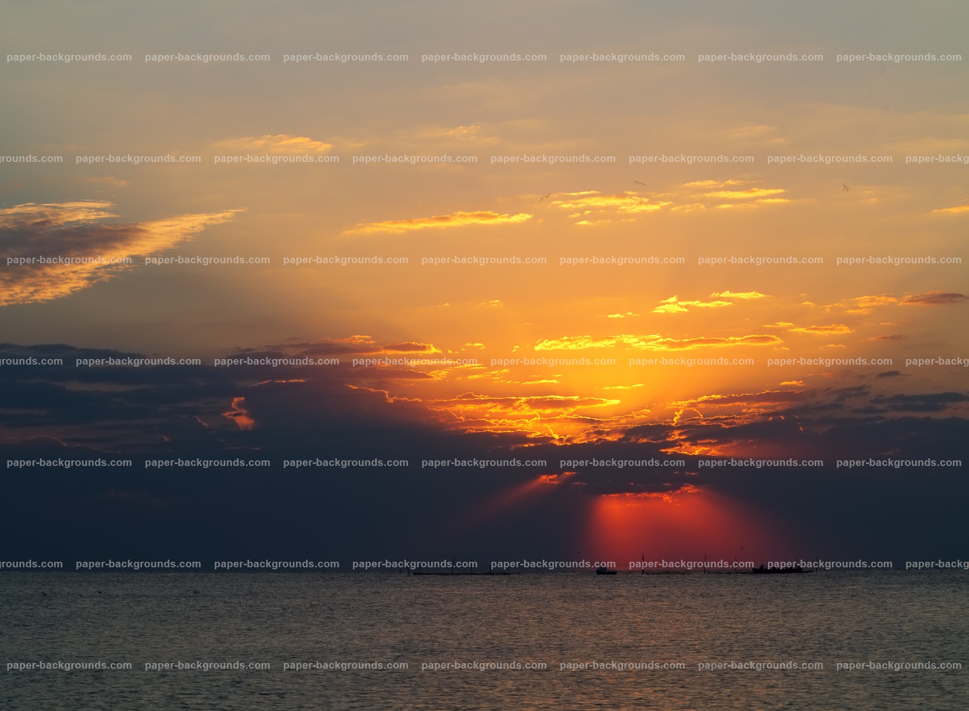 Sea Dramatic Sunrise Sky Clouds HD