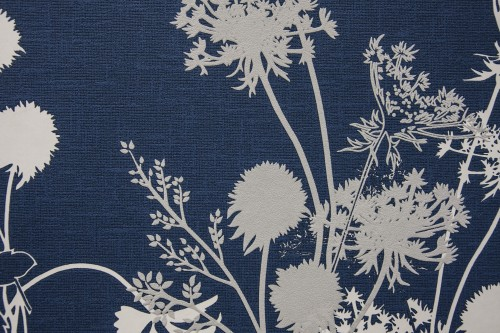 Blue Vintage Fabric Texture With Flower Design High Resolution