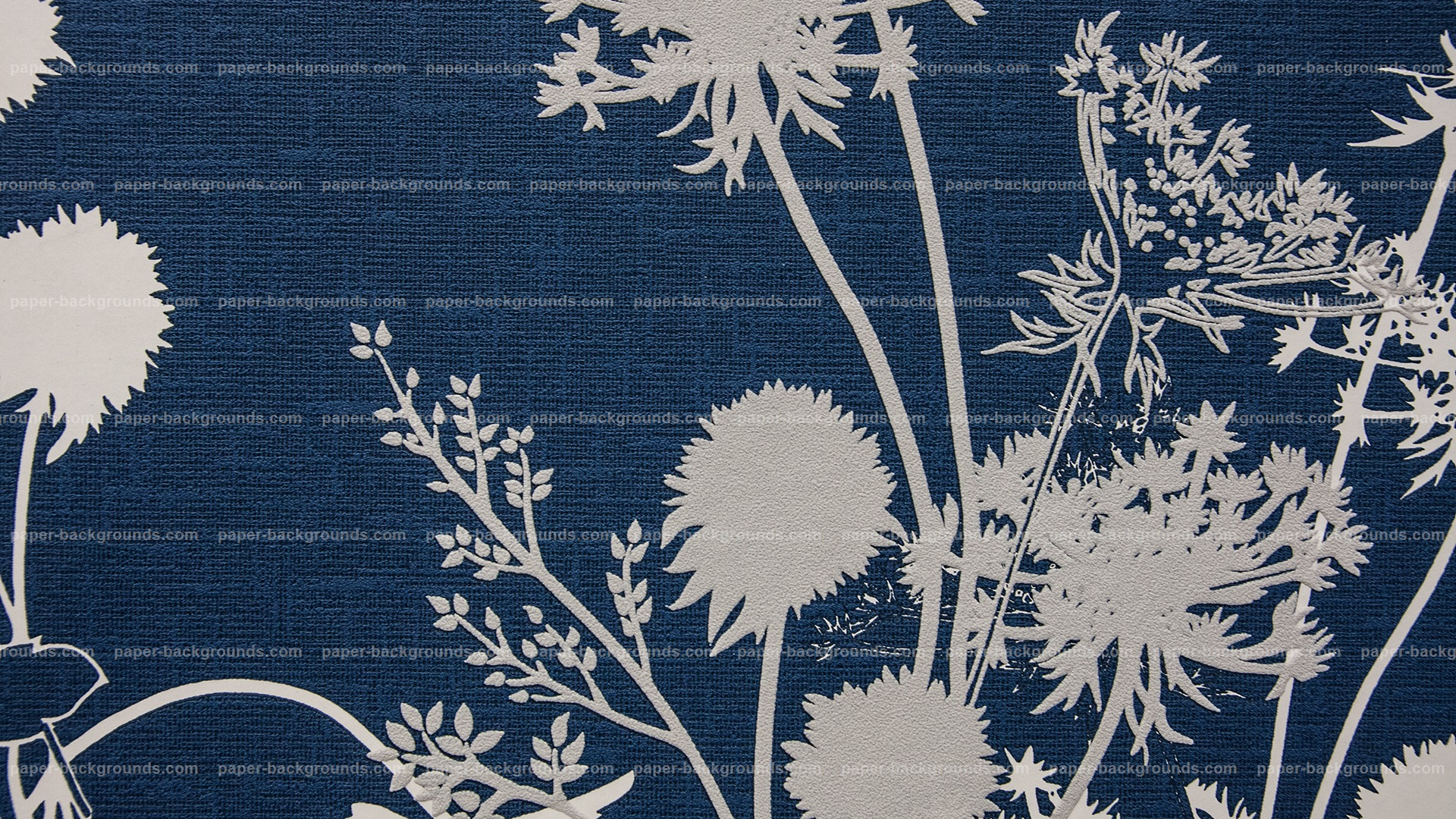 Blue Vintage Fabric Texture With Flower Design HD