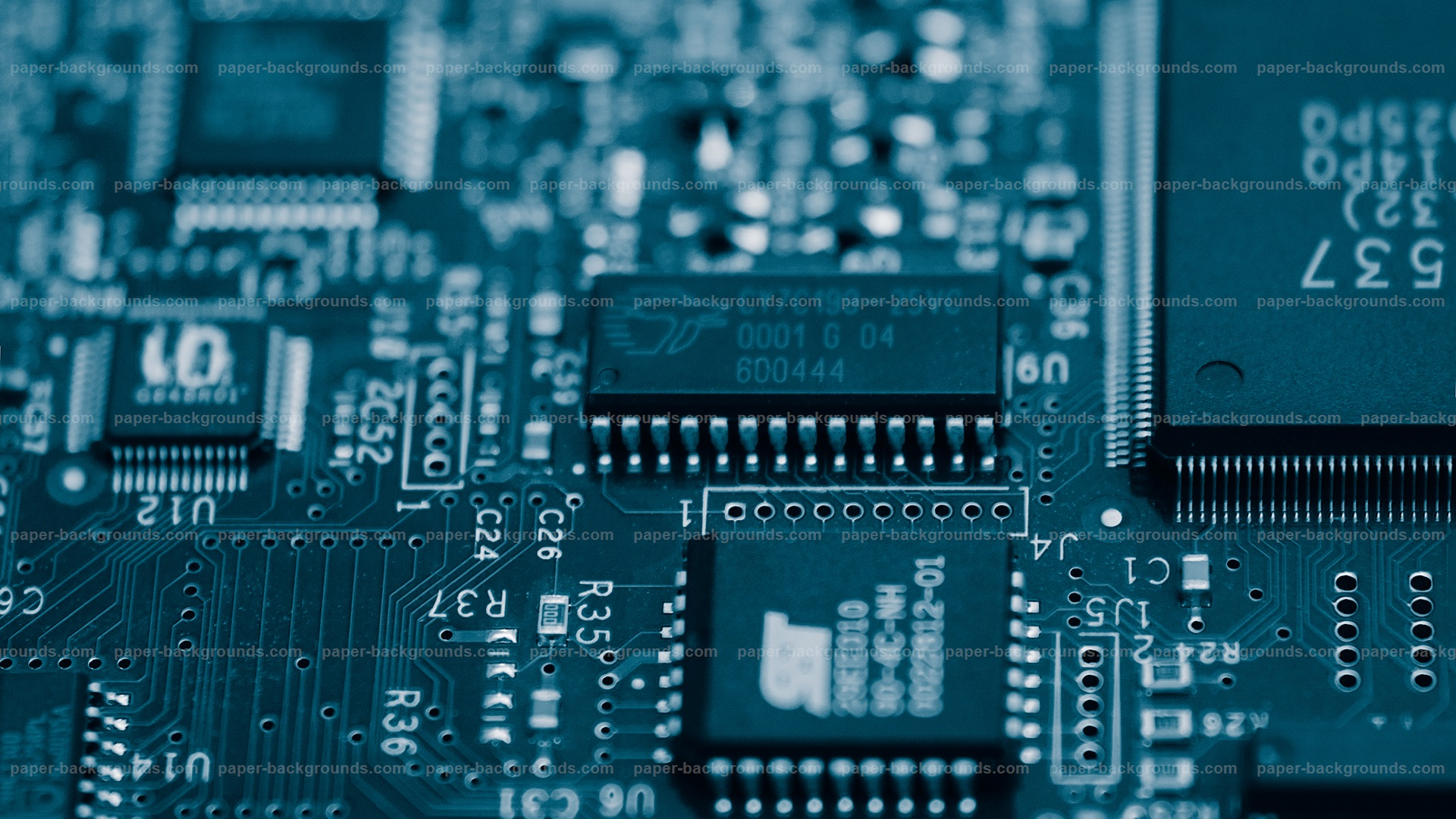 Blue Electronic Circuits Background HD