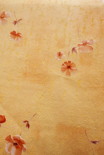 Yellow Orange Wall With Painted Flowers High Resolution