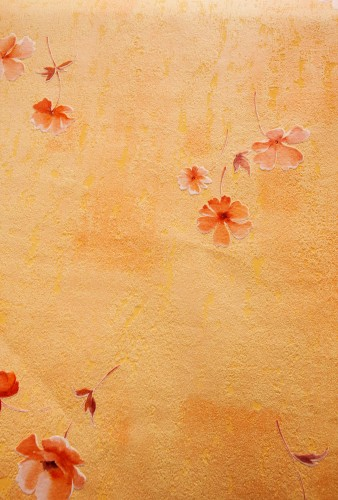 Yellow Orange Wall With Painted Flowers HD