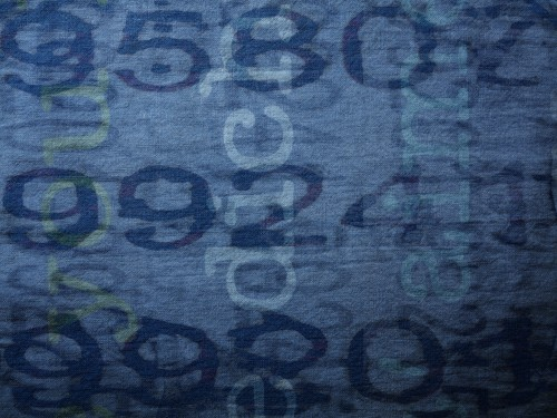 Blue Fabric Texture with Text
