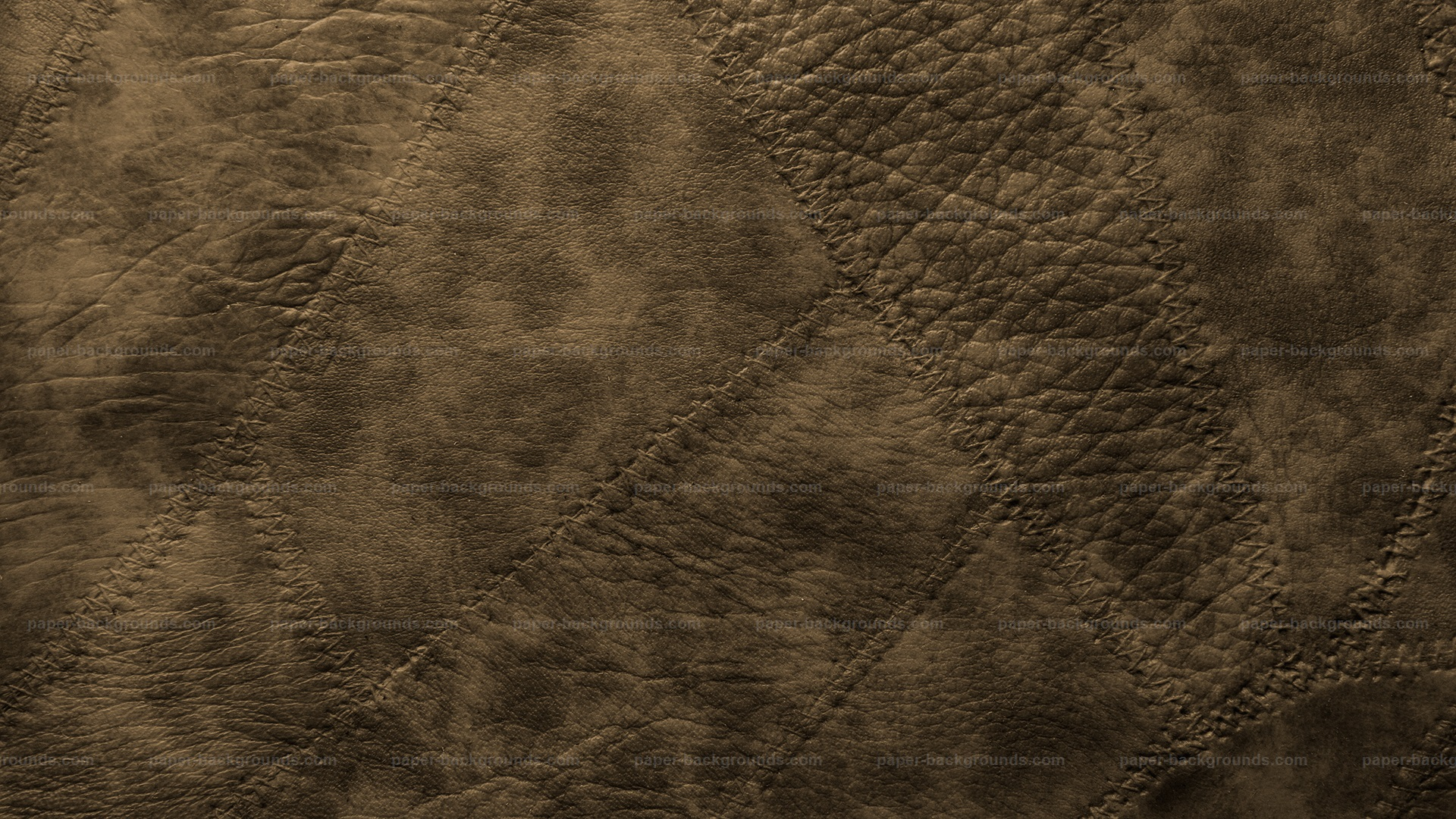 Brown Stitched Leather Patches Background HD