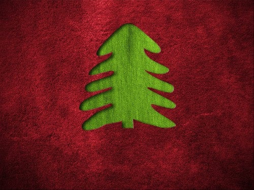 Red Christmas Background with Fir Tree