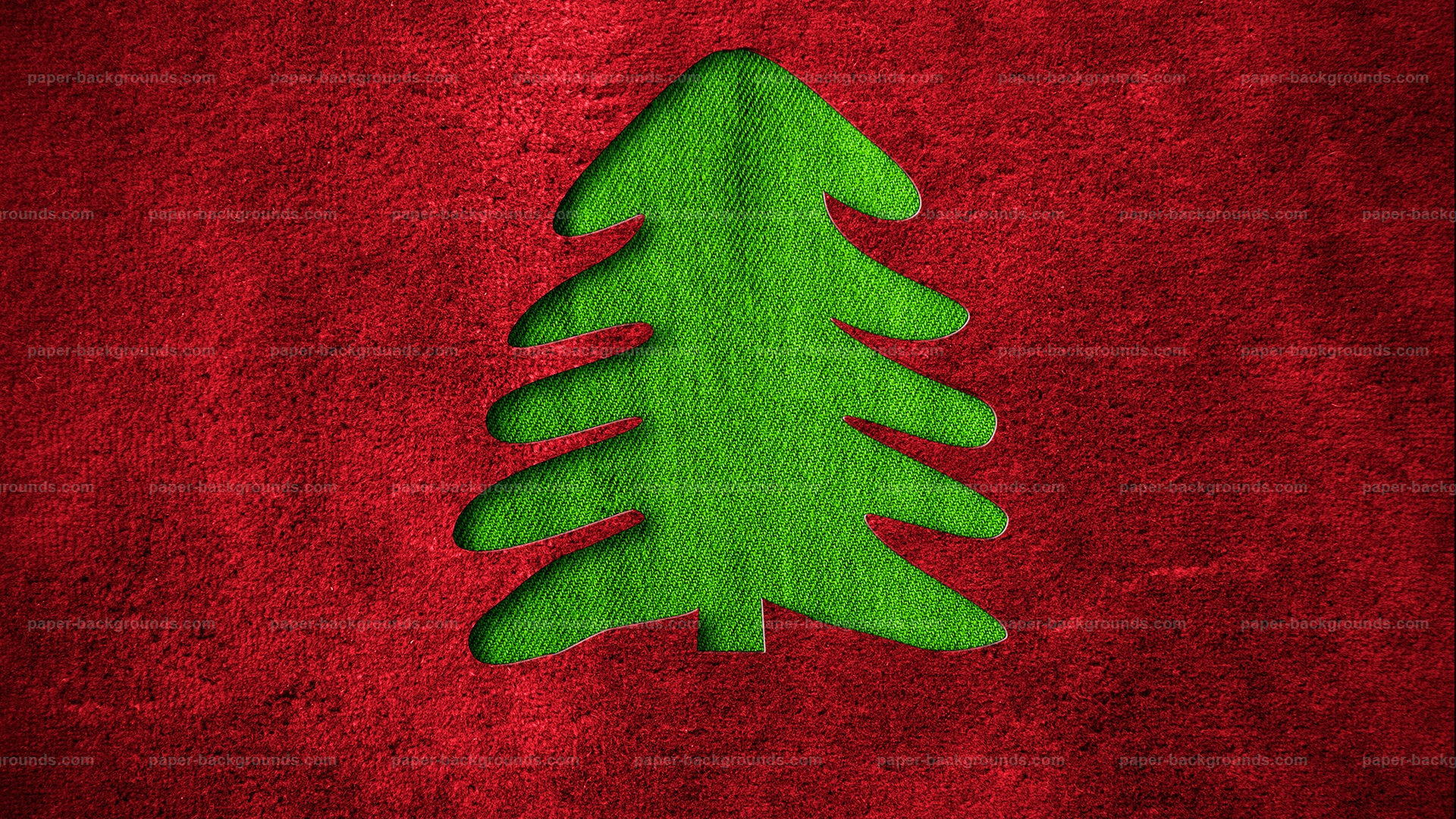 Red Christmas Background with Fir Tree HD