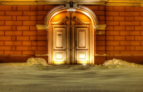 Vintage Door With Snow And Lights