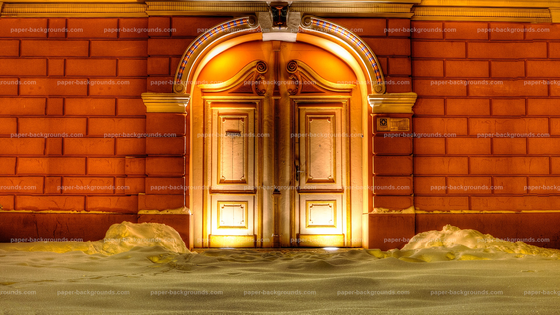 Vintage Door With Snow And Lights HD