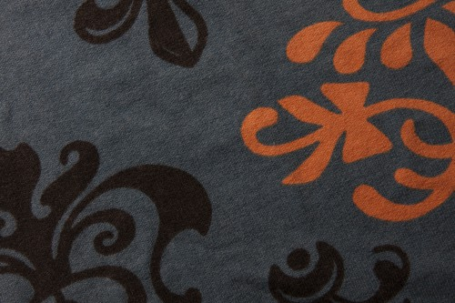 Black Orange Floral Design On Gray Fabric, High Resolution