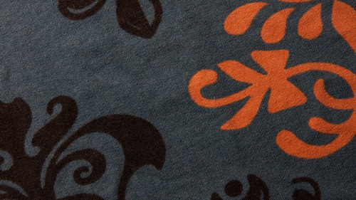 Black Orange Floral Design On Gray Fabric HD 1920 x 1080p
