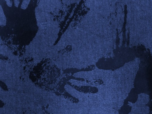 Blue Fabric With Black Paint Hand Traces, High Resolution