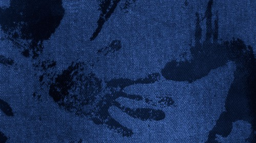 Blue Fabric With Black Paint Hand Traces HD 1920 x 1080p