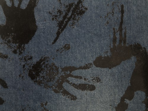 Blue Jeans Texture With Black Paint Traces, High Resolution