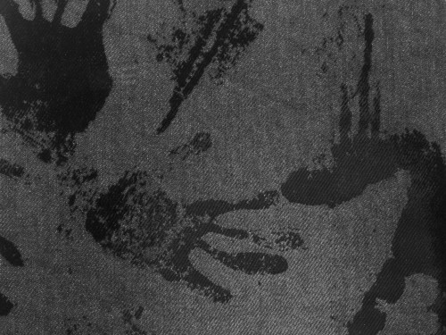 Gray Fabric With Black Paint Hand Traces, High Resolution