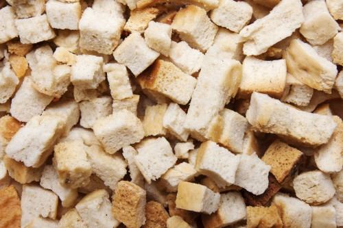Macro Bread Croutons Background, High Resolution